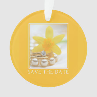 Save the Date Daffodil Spring wedding Ornament