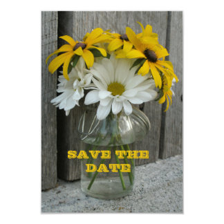 Save The Date Daisies, Black Eyed Susans, Barnwood 9 Cm X 13 Cm Invitation Card