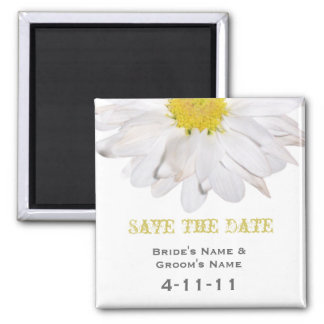 Save The Date - Daisy Wedding Square Magnet