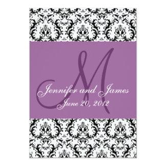 Save The Date Damask Light Purple Wedding Card