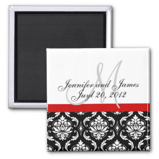 Save the Date Damask Monogram Wedding Magnet
