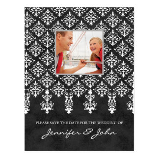 Save the Date Damask Postcard Gray White
