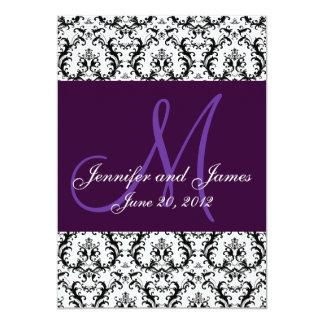 Save The Date Damask Purple Wedding Card