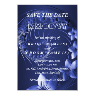 Save the Date - Dark Blue Abstract Flowers 9 Cm X 13 Cm Invitation Card