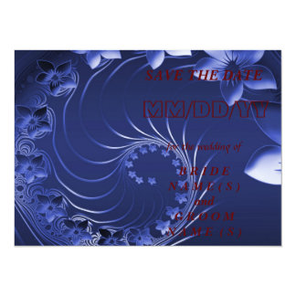 Save the Date - Dark Blue Abstract Flowers 14 Cm X 19 Cm Invitation Card