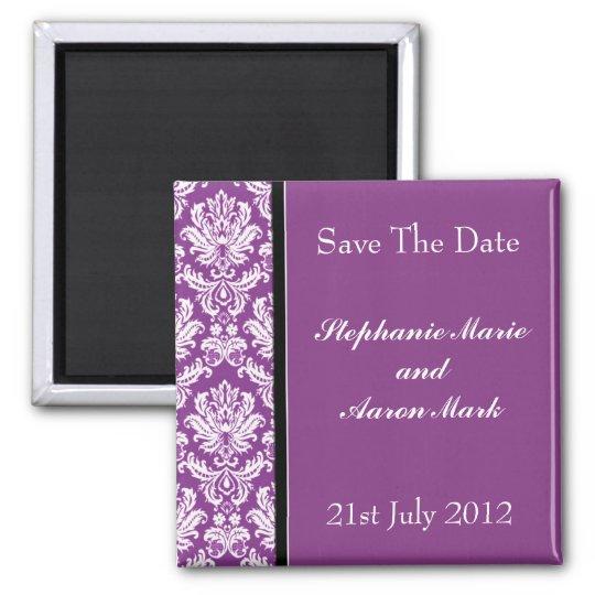 Save The Date -  Dark Purple Classic Damask Magnet