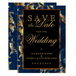 Save the Date Deep Blue and Gold Marble Card
