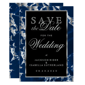 Save the Date Deep Blue and Silver Marble 13 Cm X 18 Cm Invitation Card