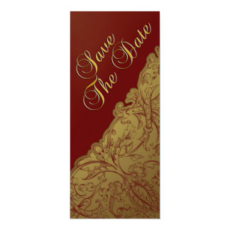 Save The Date - Deep Red & Gold Vintage Personalized Invitation