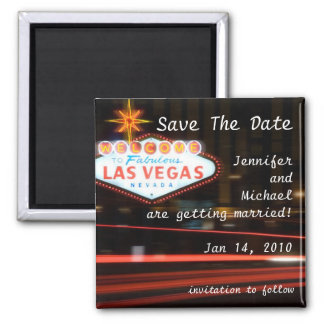 Save The Date Destination Las Vegas Wedding Square Magnet