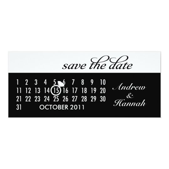 Save the Date Diamond Calendar Grid (black) Card