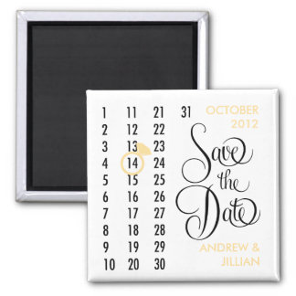 Save the Date Diamond Calendar Grid (champagne) Magnet