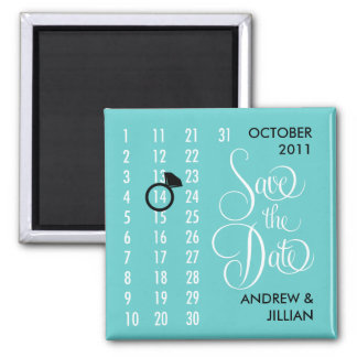 Save the Date Diamond Calendar Grid (teal) Magnet
