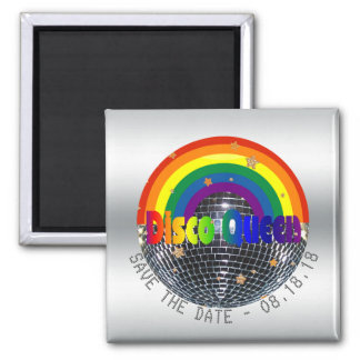 Save the Date Disco Queen Retro Rainbow Party Magnet