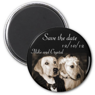 Save the date dog wedding couple magnet