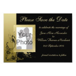 Save the Date Elegant Black and Gold Effect Swirls