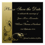 Save the Date Elegant Black and Gold Effect Swirls Personalised Announcements