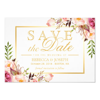 Save the Date Elegant Chic Pink Floral Gold Frame Card
