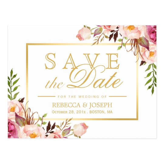 Save the Date Elegant Chic Pink Floral Gold