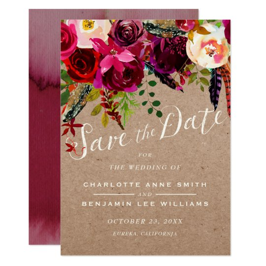 SAVE THE DATE | Elegant Floral Rustic Boho Wedding Card