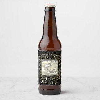 Save the Date Elegant Gold Foil Dots Look Script Beer Bottle Label