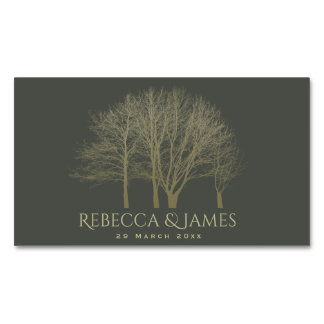 SAVE THE DATE ELEGANT GREY GOLD FALL AUTUMN TREES MAGNETIC BUSINESS CARDS