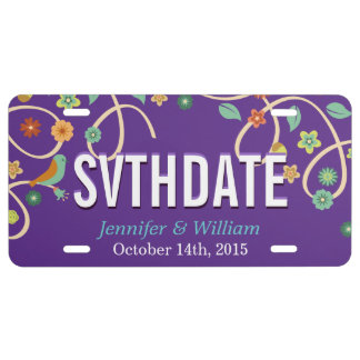 Save the Date Elegant Lavender Purple Swirl Floral License Plate