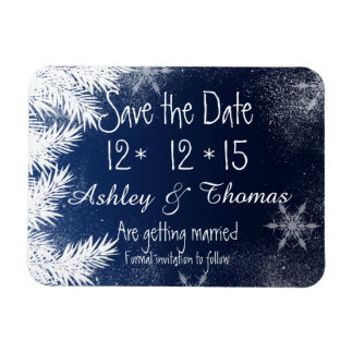 Save the Date Elegant Navy Blue Snowflake Winter Magnet