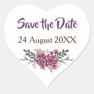 Save the Date elegant purple floral petals Wedding Heart Sticker