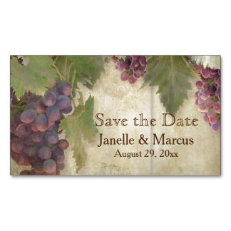 Save the Date Elegant Rustic Vineyard Winery Fall Magnetic Business Card