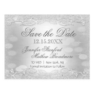 Save the Date | Elegant Silver Postcard