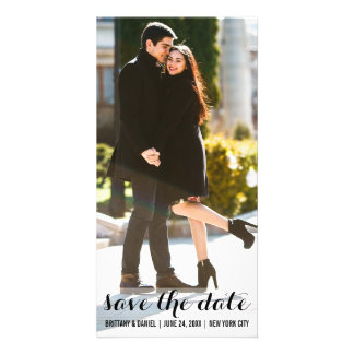 Save The Date Engagement Modern Photo Card LV