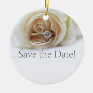 Save the Date Engagement ring and rose Christmas Ornament