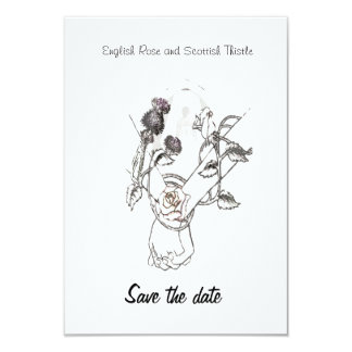 save the date English Rose and Scottish Thistle 9 Cm X 13 Cm Invitation Card