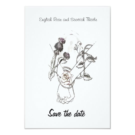 save the date English Rose and Scottish Thistle