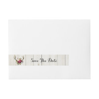 Save The Date Envelope Wrap Antlers Stag Floral Wraparound Address Label