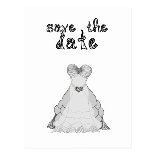 save the date fabric font wedding dress postcard