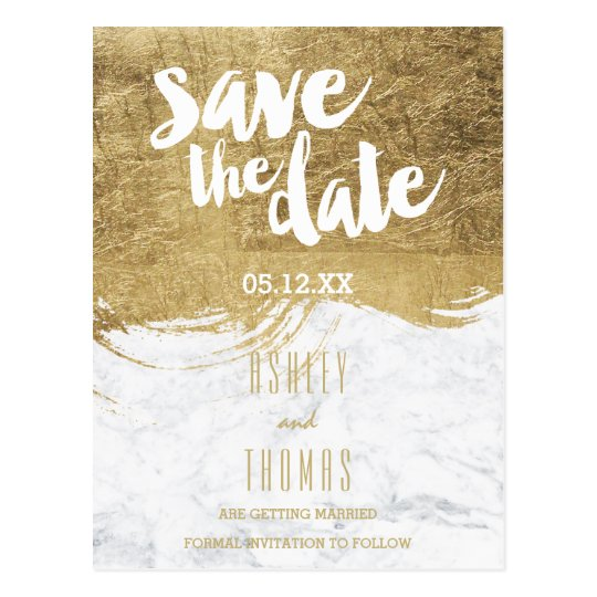 Save the Date faux gold foil brushstroke marble