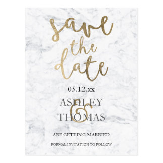 Save the Date faux gold typography white marble Postcard