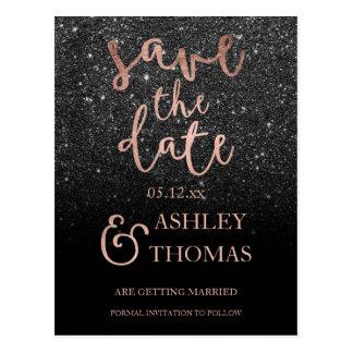Save the Date faux Rose gold script black glitter Postcard
