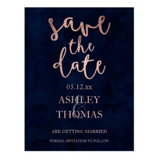 Save the Date faux Rose gold script navy blue Postcard