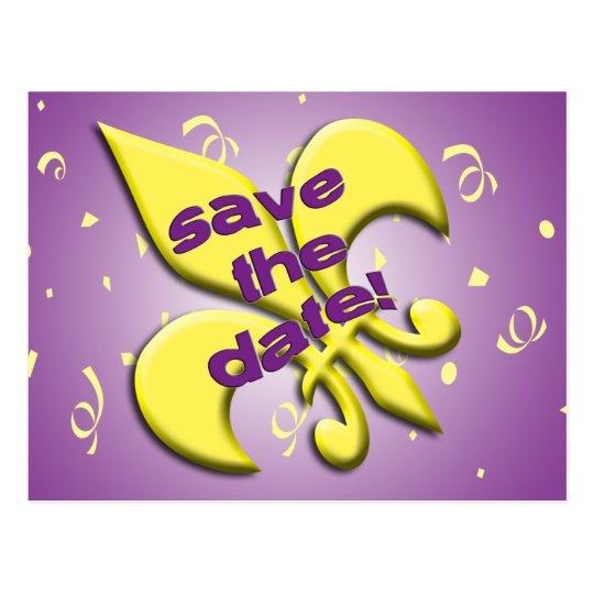 Save the Date Fleur de Lys Postcard