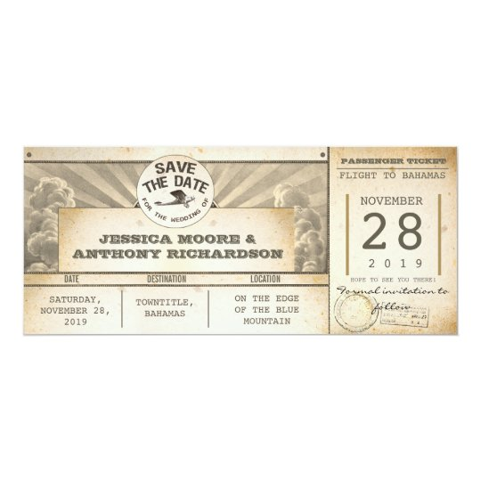 save the date flight tickets - vintage invitations