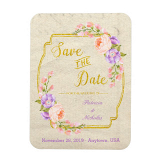 Save the Date Floral and Gold Rectangular Photo Magnet