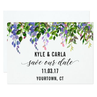 Save the Date Floral Green Watercolor Wreath Card