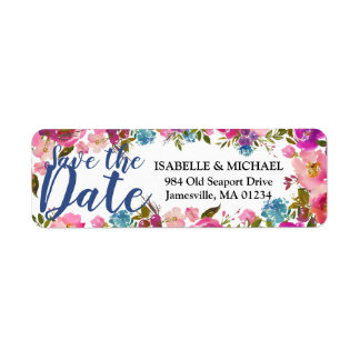 Save the Date Floral Return Address Label