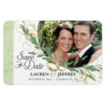 Save the Date - Floral Sage Vintage Photo Magnets