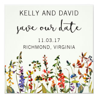 Save the Date Floral Summer Flowers Minimalistic Card