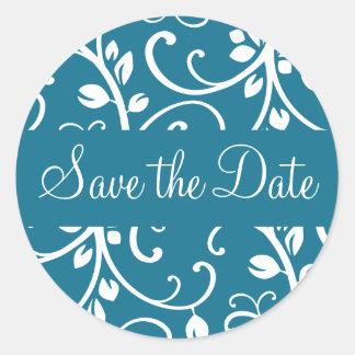 Save the Date Floral Vine Envelope Sticker Seal