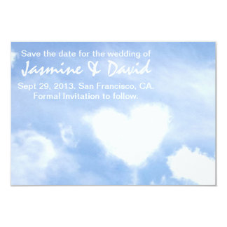 Save the Date for the Wedding - Heart Shaped Cloud 9 Cm X 13 Cm Invitation Card